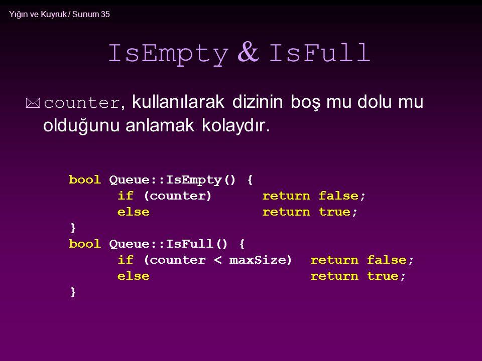 IsEmpty & IsFull counter, kullanılarak dizinin boş mu dolu mu olduğunu anlamak kolaydır. bool Queue::IsEmpty() {
