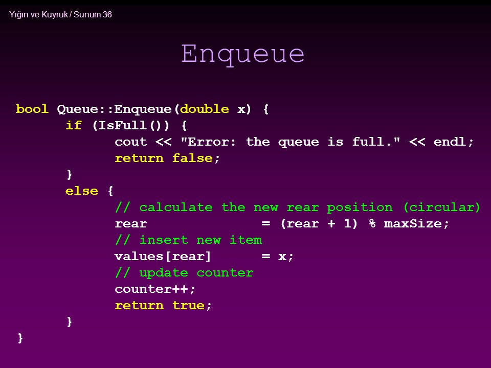 Enqueue bool Queue::Enqueue(double x) { if (IsFull()) {