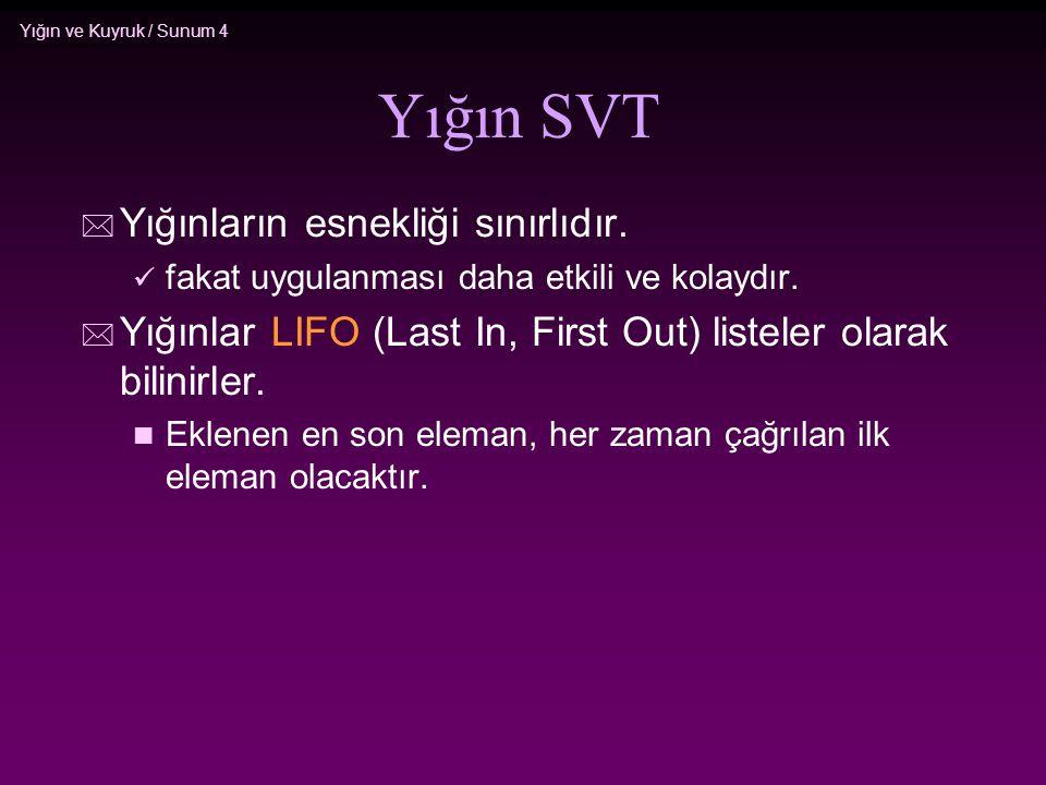 Yığın SVT Yığınların esnekliği sınırlıdır.
