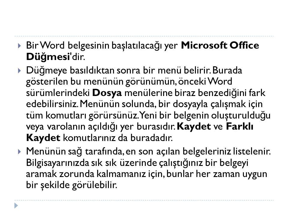 Bir Word belgesinin başlatılacağı yer Microsoft Office Düğmesi dir.