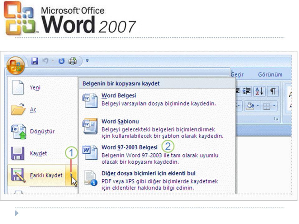 Word ün yeni sürümünde oluşturulan bir belge nasıl eski dosya biçiminde kaydedilir.