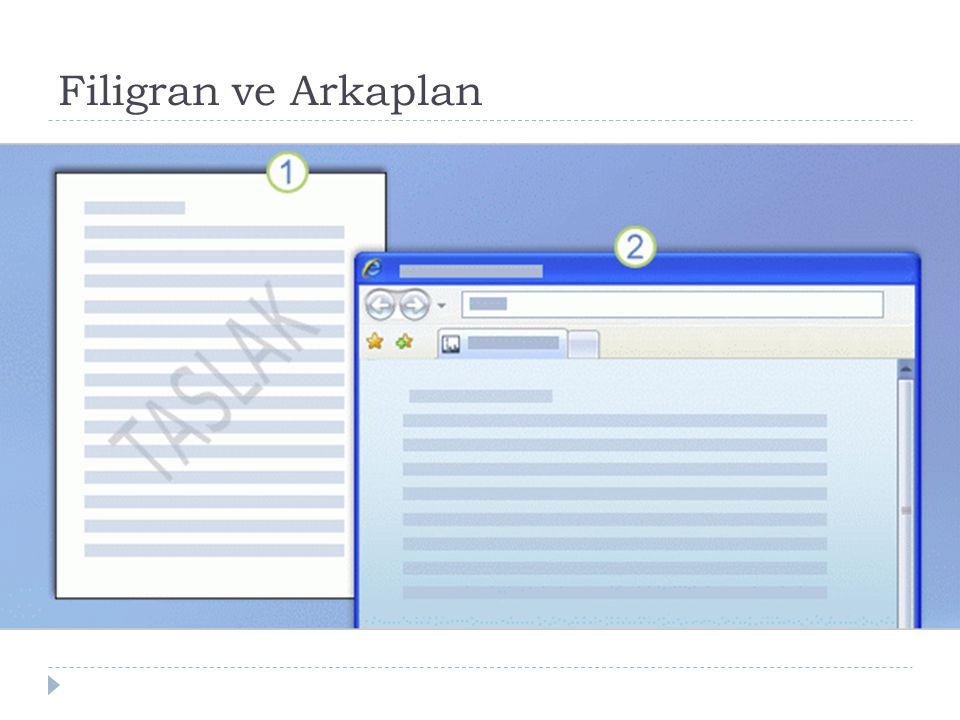Filigran ve Arkaplan Basılı belgede filigran.