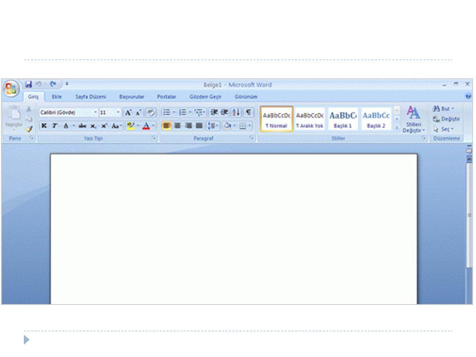 Boş bir Word belgesi. Word ü açtığınızda boş bir belge görürsünüz.