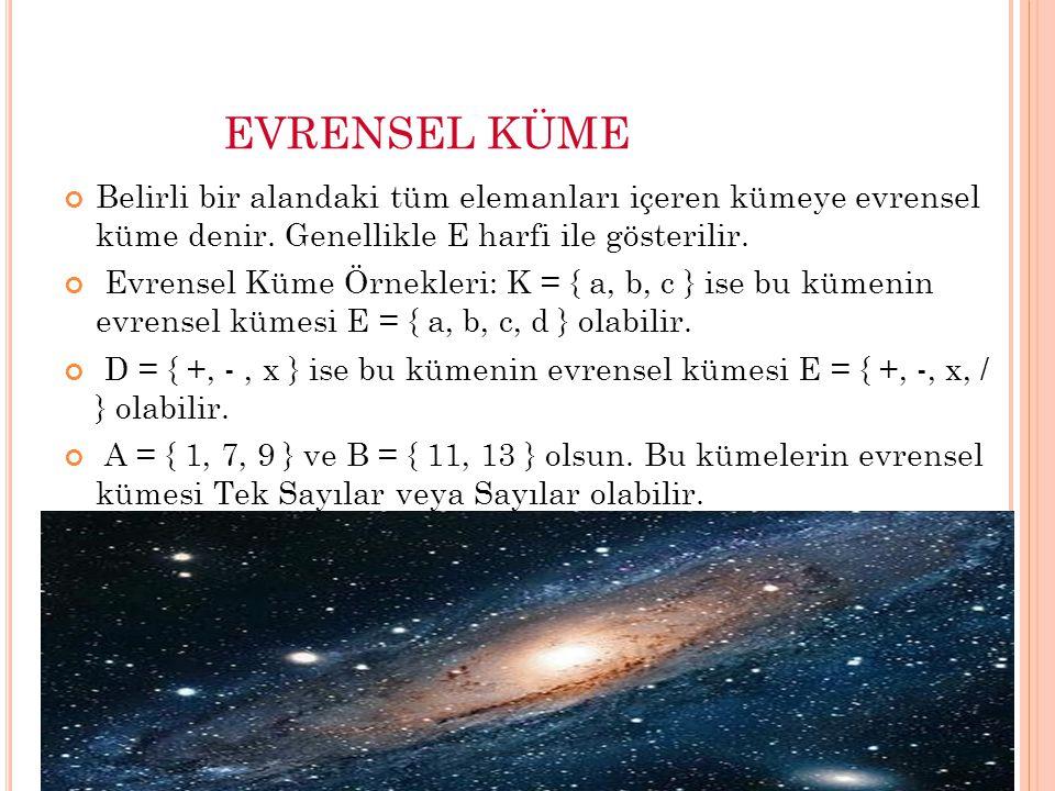 EVRENSEL KÜME Belirli bir alandaki tüm elemanları içeren kümeye evrensel küme denir. Genellikle E harfi ile gösterilir.