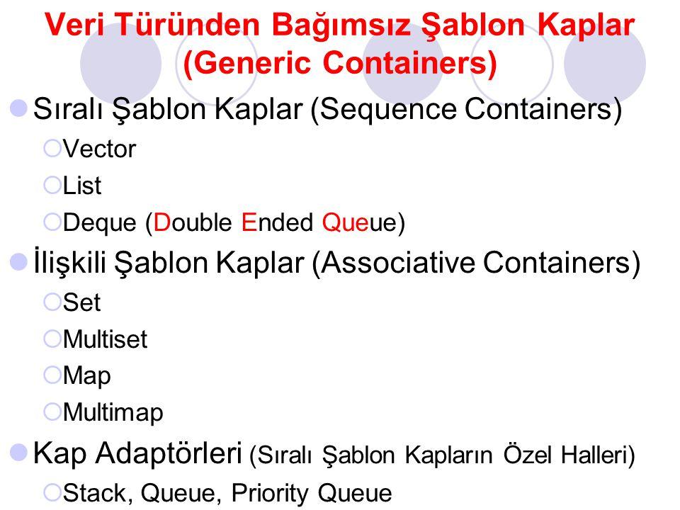 Veri Türünden Bağımsız Şablon Kaplar (Generic Containers)