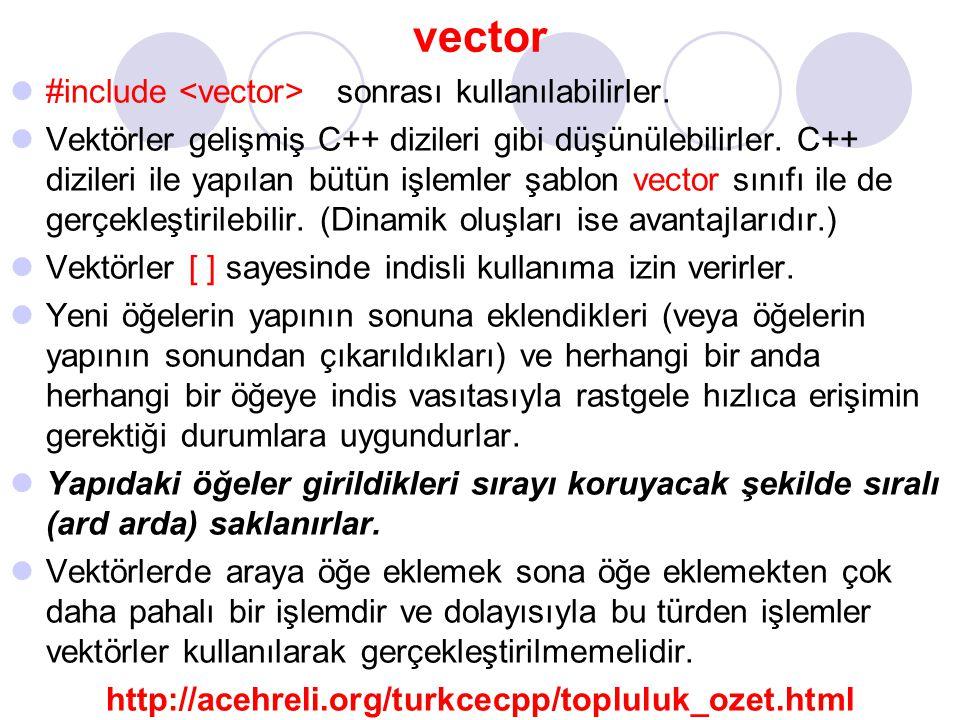 vector #include <vector> sonrası kullanılabilirler.