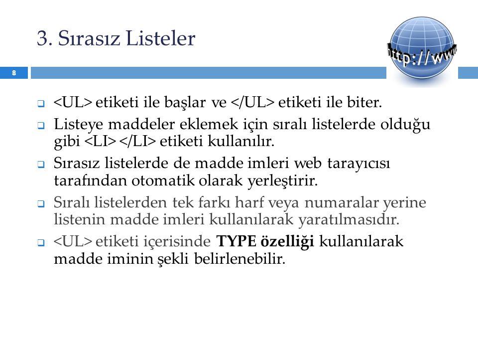 3. Sırasız Listeler <UL> etiketi ile başlar ve </UL> etiketi ile biter.