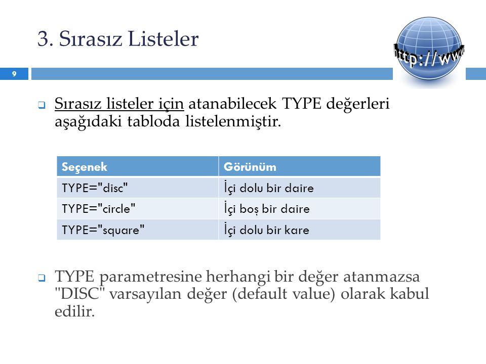 3. Sırasız Listeler Sırasız listeler için atanabilecek TYPE değerleri aşağıdaki tabloda listelenmiştir.