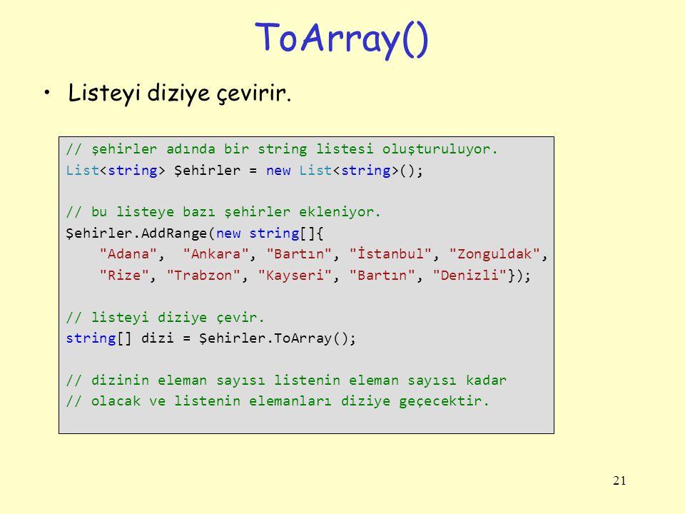 ToArray() Listeyi diziye çevirir.