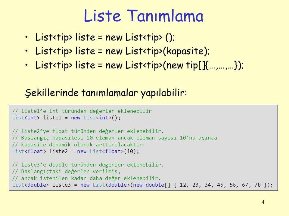 Liste Tanımlama List<tip> liste = new List<tip> ();