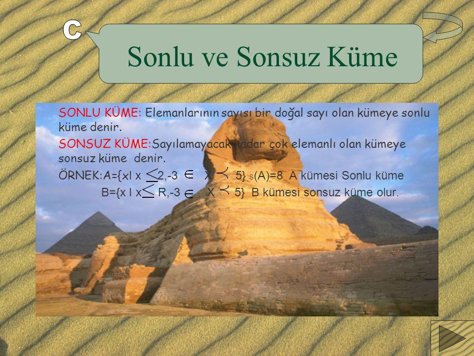 Sonlu ve Sonsuz Küme C. SONLU KÜME: Elemanlarının sayısı bir doğal sayı olan kümeye sonlu küme denir.