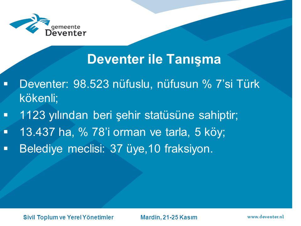 Deventer ile Tanışma Deventer: 98.523 nüfuslu, nüfusun % 7'si Türk kökenli; 1123 yılından beri şehir statüsüne sahiptir;
