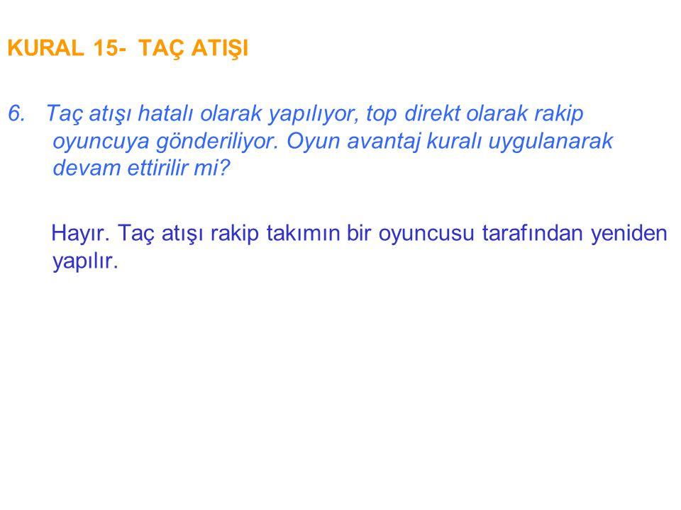 KURAL 15- TAÇ ATIŞI