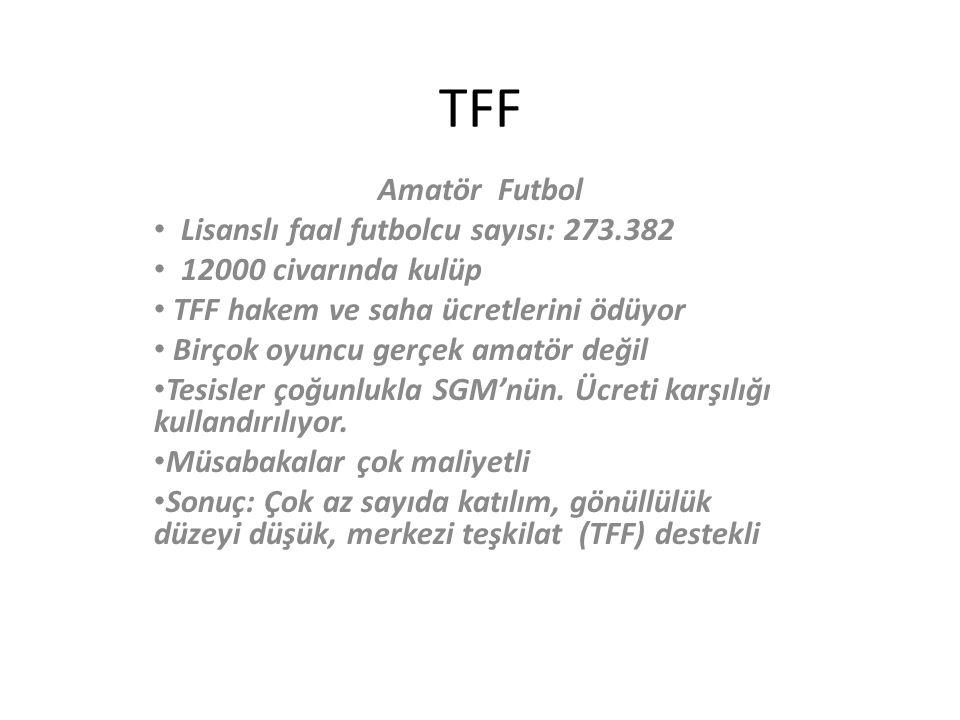 TFF Amatör Futbol Lisanslı faal futbolcu sayısı: 273.382