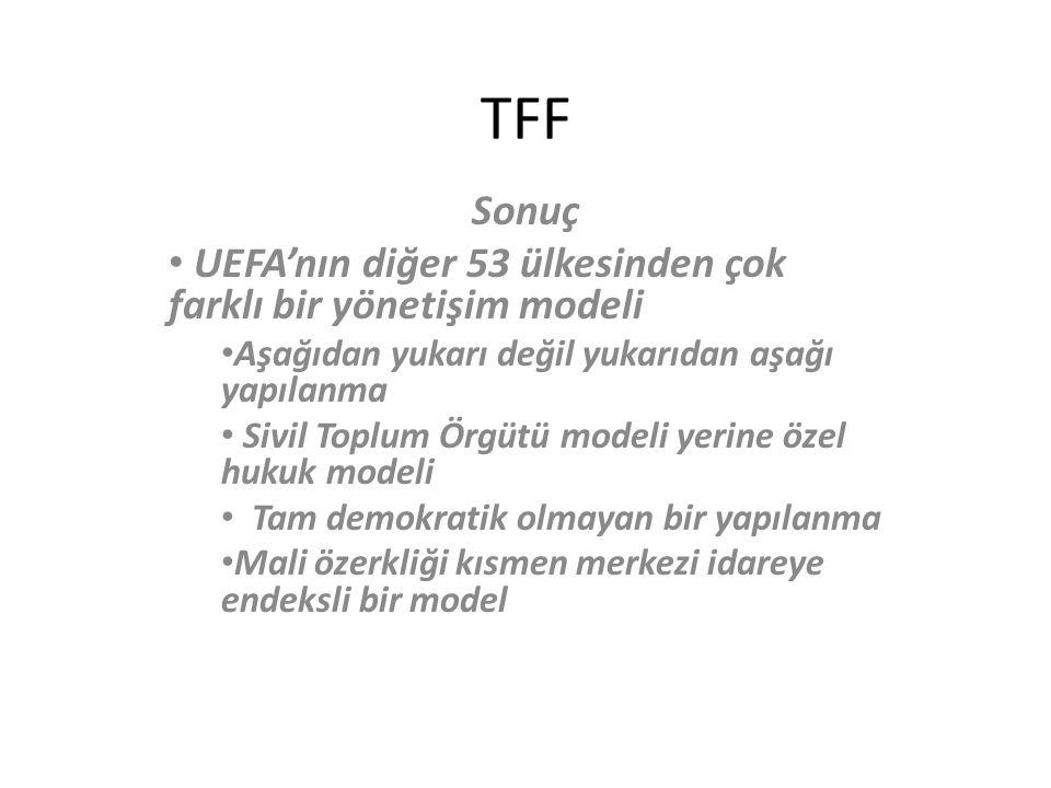 TFF Sonuç UEFA'nın diğer 53 ülkesinden çok farklı bir yönetişim modeli