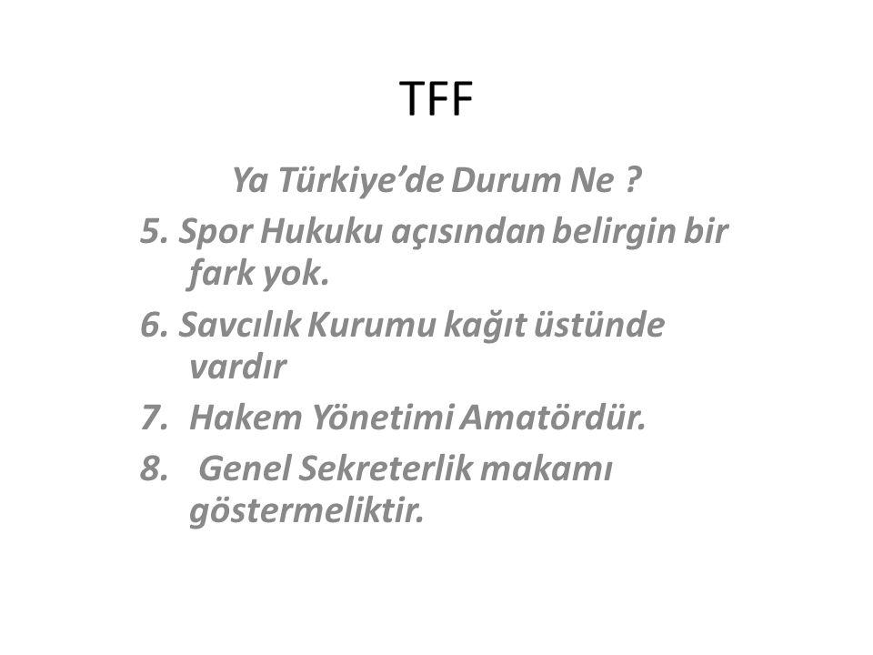 TFF Ya Türkiye'de Durum Ne