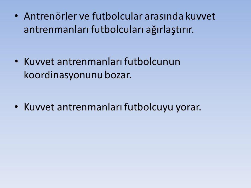 Antrenörler ve futbolcular arasında kuvvet antrenmanları futbolcuları ağırlaştırır.