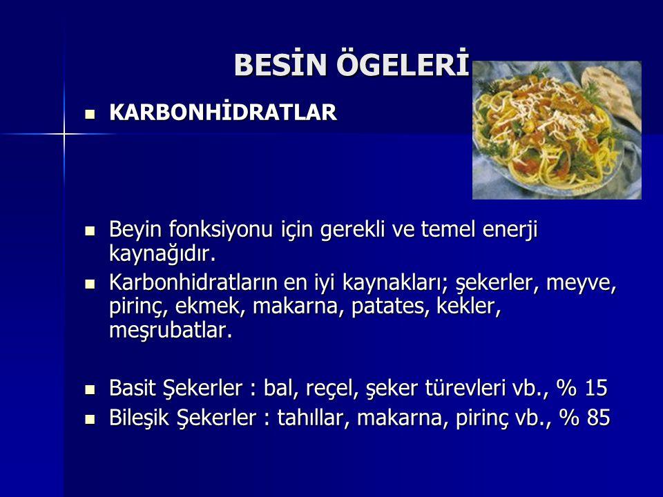 BESİN ÖGELERİ KARBONHİDRATLAR