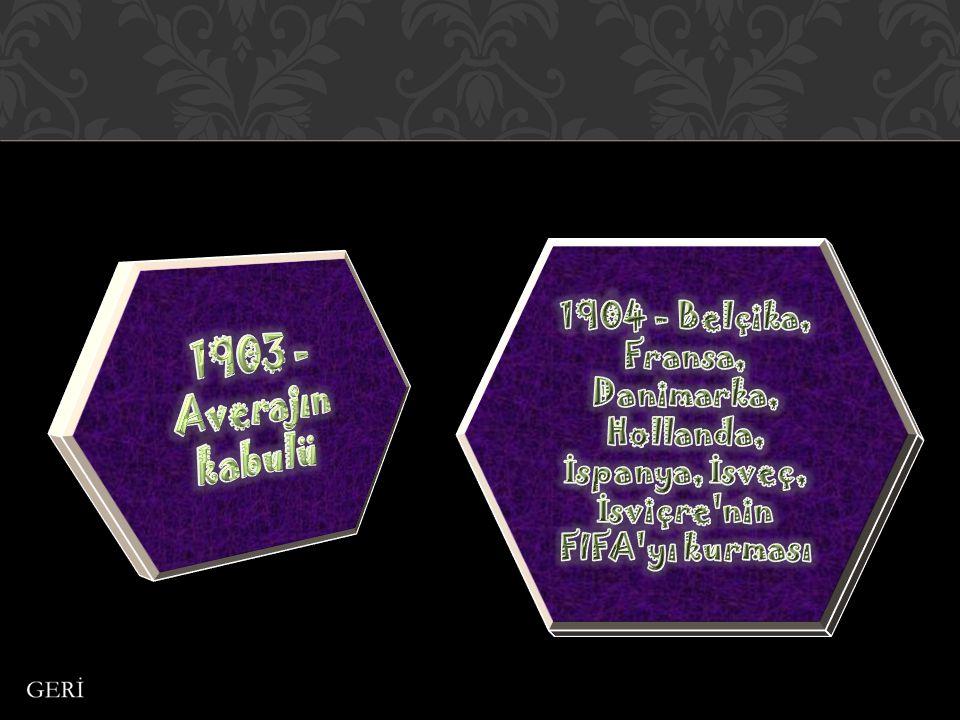 1904 - Belçika, Fransa, Danimarka, Hollanda, İspanya, İsveç, İsviçre nin FIFA yı kurması