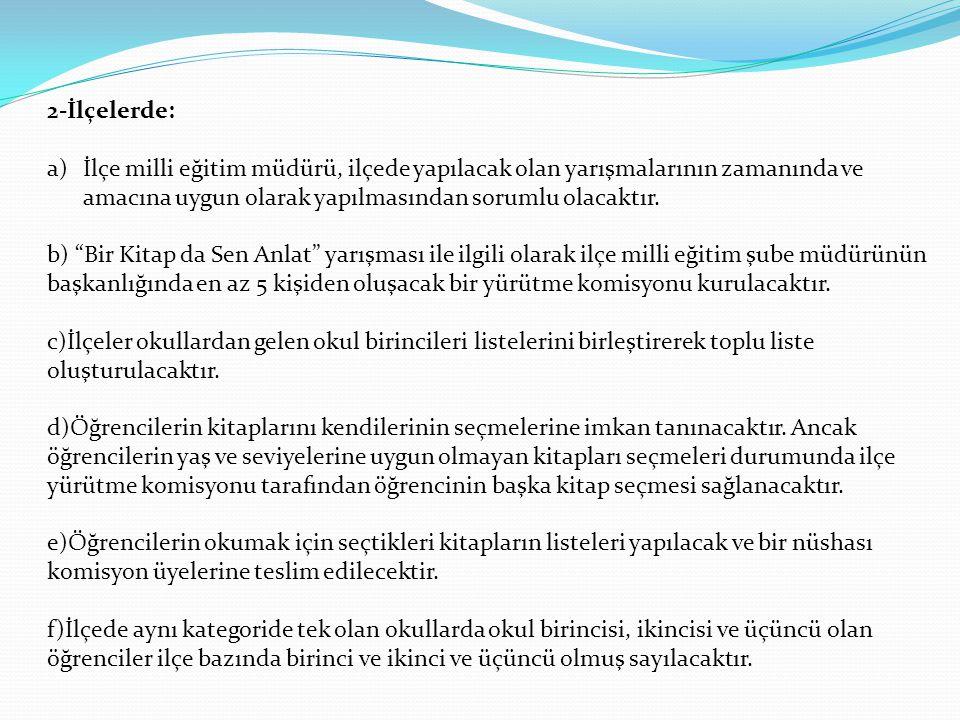 2-İlçelerde: İlçe milli eğitim müdürü, ilçede yapılacak olan yarışmalarının zamanında ve amacına uygun olarak yapılmasından sorumlu olacaktır.
