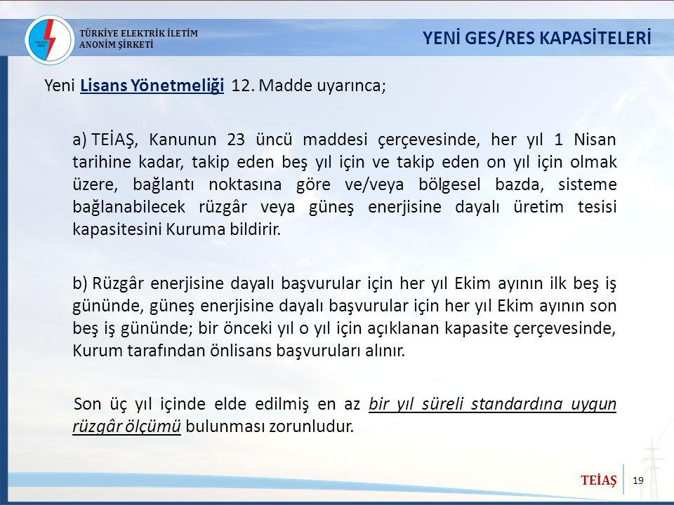 YENİ GES/RES KAPASİTELERİ