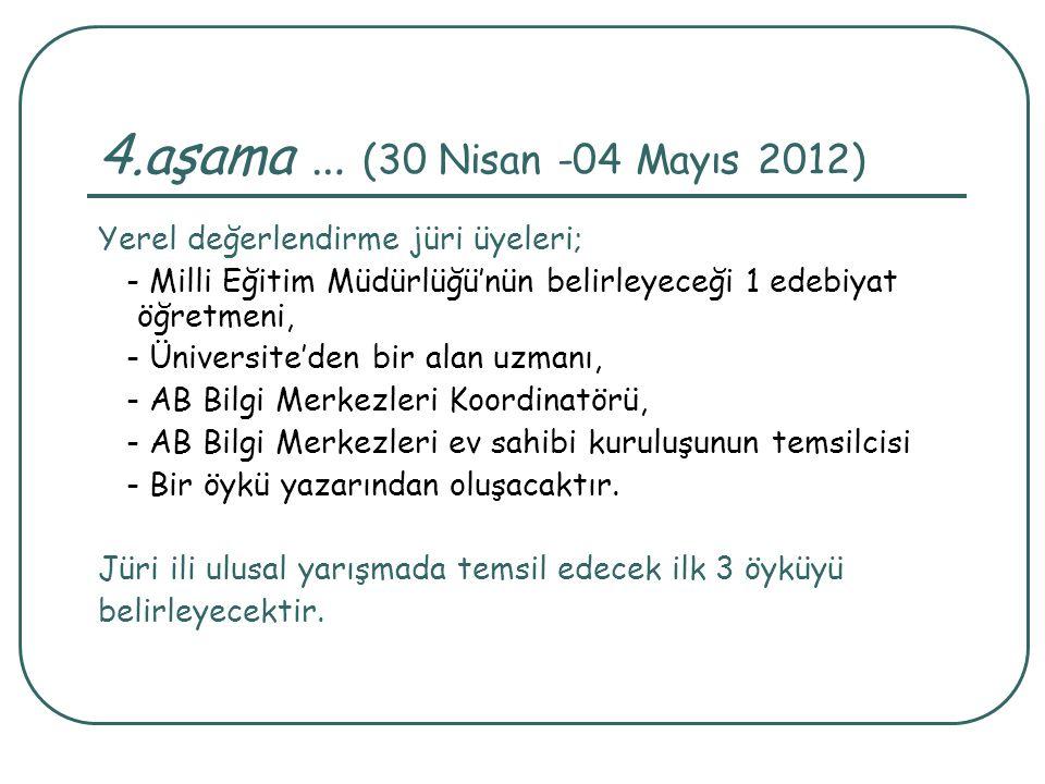 4.aşama … (30 Nisan -04 Mayıs 2012) Yerel değerlendirme jüri üyeleri;