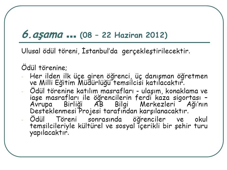 6.aşama … (08 – 22 Haziran 2012) Ulusal ödül töreni, İstanbul'da gerçekleştirilecektir. Ödül törenine;