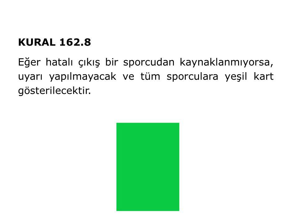 KURAL 162.8 Eğer hatalı çıkış bir sporcudan kaynaklanmıyorsa, uyarı yapılmayacak ve tüm sporculara yeşil kart gösterilecektir.