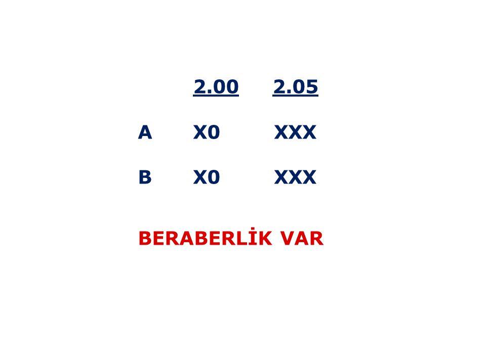 2.00 2.05 A X0 XXX B X0 XXX BERABERLİK VAR