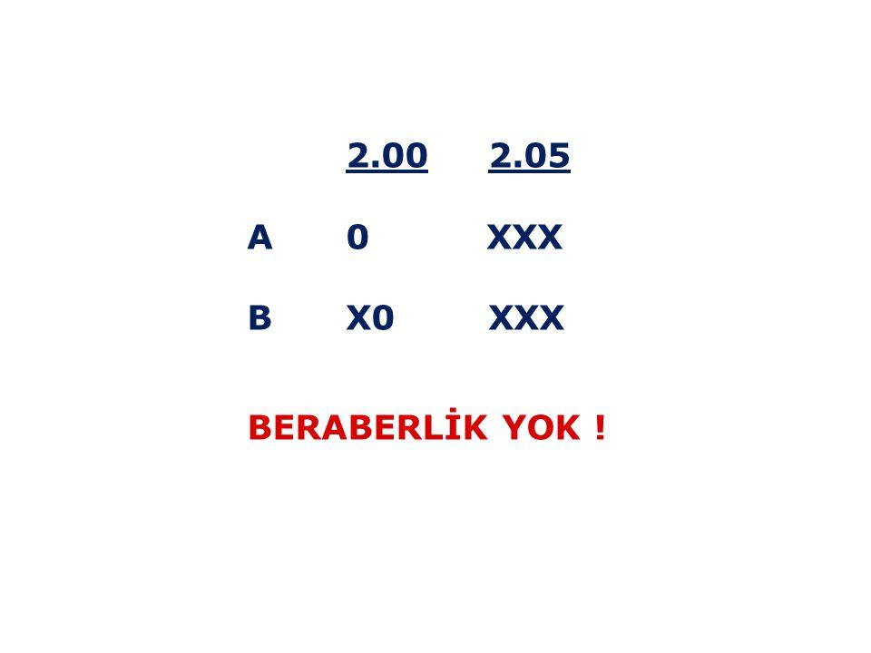 2.00 2.05 A 0 XXX B X0 XXX BERABERLİK YOK !