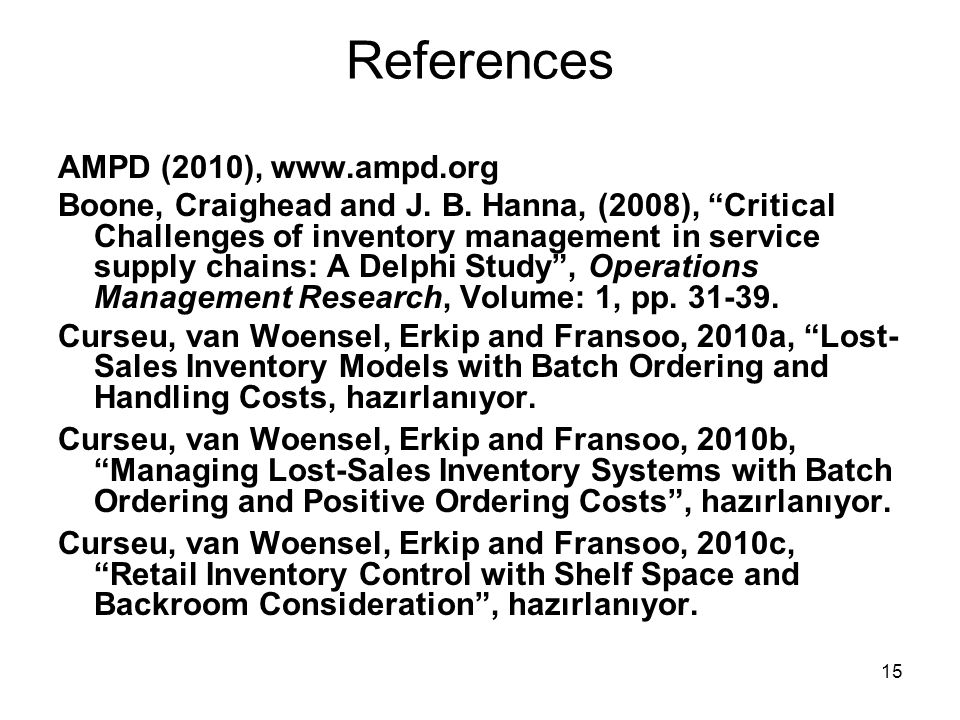 References AMPD (2010), www.ampd.org