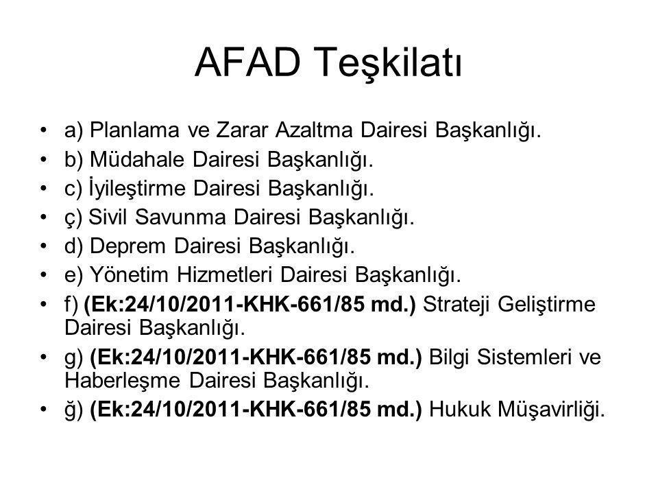 AFAD Teşkilatı a) Planlama ve Zarar Azaltma Dairesi Başkanlığı.