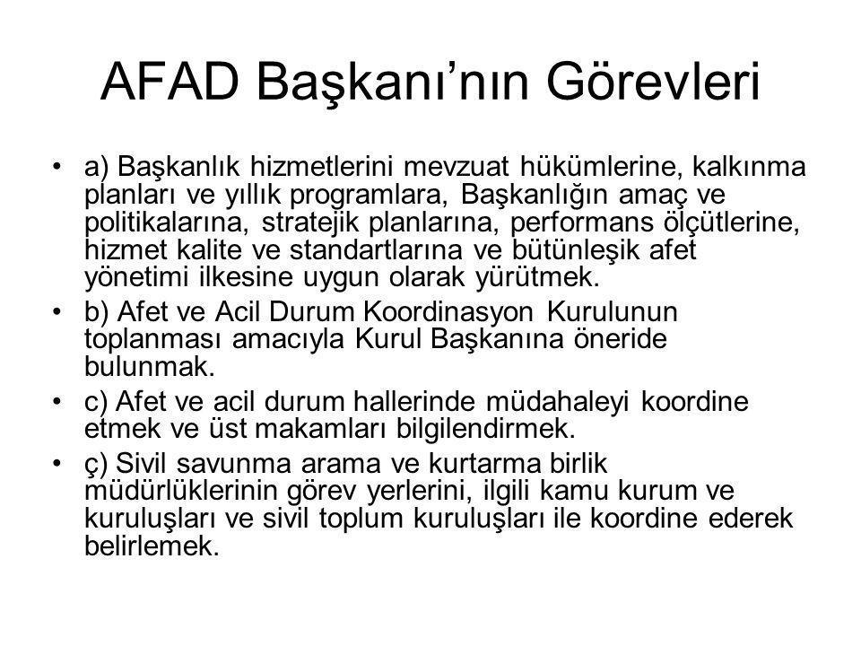 AFAD Başkanı'nın Görevleri