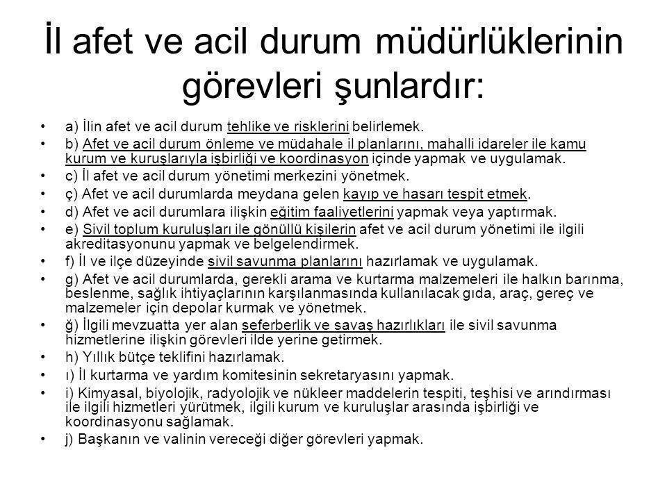 İl afet ve acil durum müdürlüklerinin görevleri şunlardır: