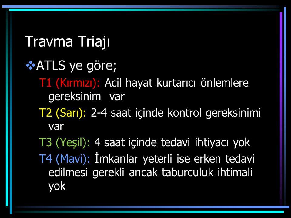Travma Triajı ATLS ye göre;