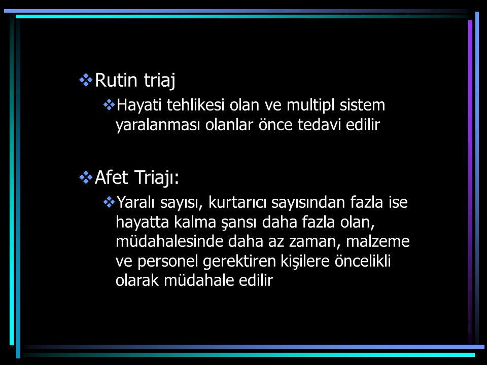 Rutin triaj Afet Triajı: