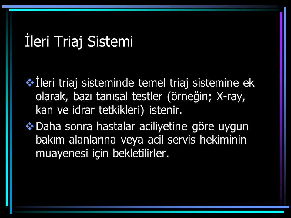 İleri Triaj Sistemi İleri triaj sisteminde temel triaj sistemine ek olarak, bazı tanısal testler (örneğin; X-ray, kan ve idrar tetkikleri) istenir.