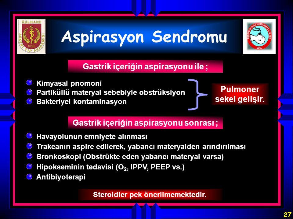 Aspirasyon Sendromu Gastrik içeriğin aspirasyonu ile ;