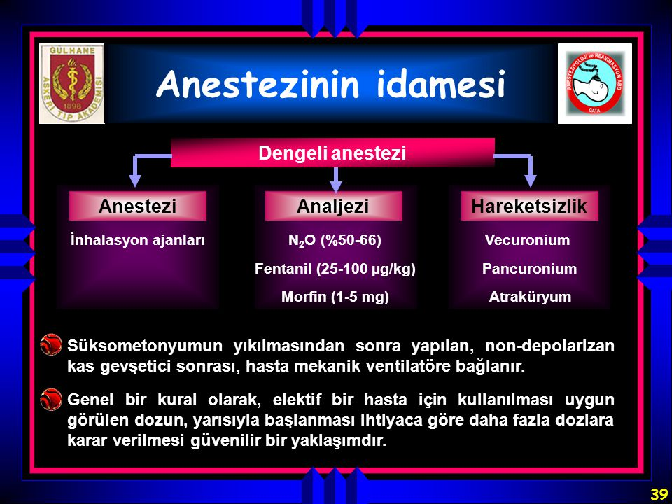 Anestezinin idamesi Dengeli anestezi Anestezi Analjezi Hareketsizlik