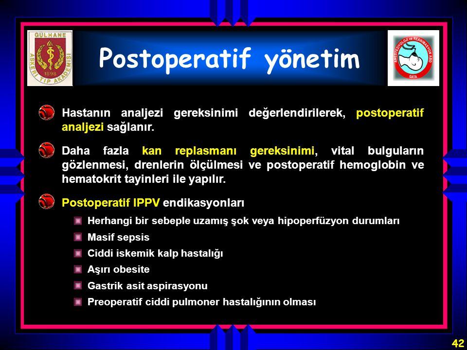Postoperatif yönetim Hastanın analjezi gereksinimi değerlendirilerek, postoperatif analjezi sağlanır.