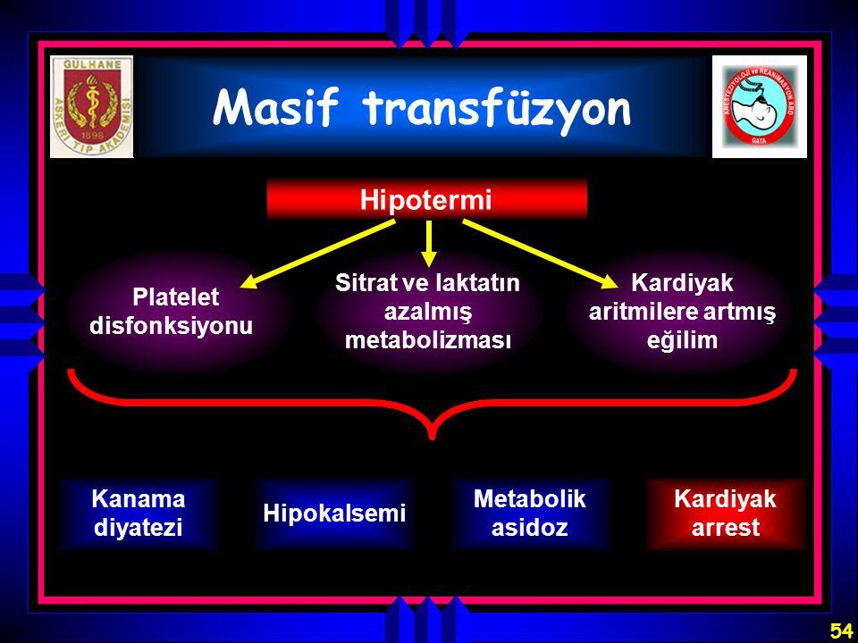 Masif transfüzyon Hipotermi Platelet disfonksiyonu