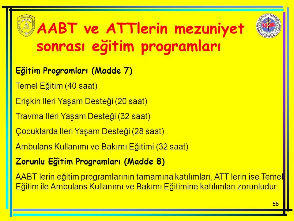 AABT ve ATTlerin mezuniyet sonrası eğitim programları