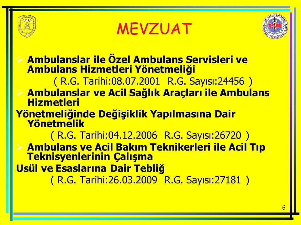 MEVZUAT Ambulanslar ile Özel Ambulans Servisleri ve Ambulans Hizmetleri Yönetmeliği. ( R.G. Tarihi:08.07.2001 R.G. Sayısı:24456 )