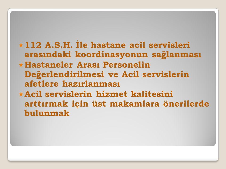 112 A.S.H. İle hastane acil servisleri arasındaki koordinasyonun sağlanması