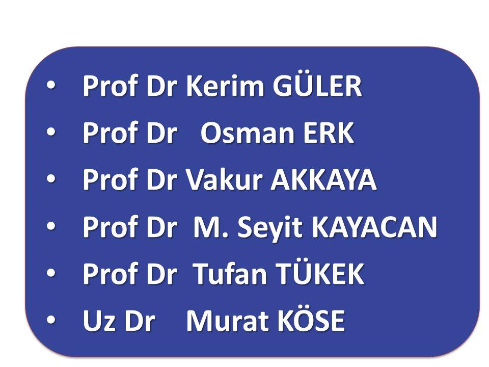 Prof Dr Kerim GÜLER Prof Dr Osman ERK. Prof Dr Vakur AKKAYA. Prof Dr M. Seyit KAYACAN. Prof Dr Tufan TÜKEK.