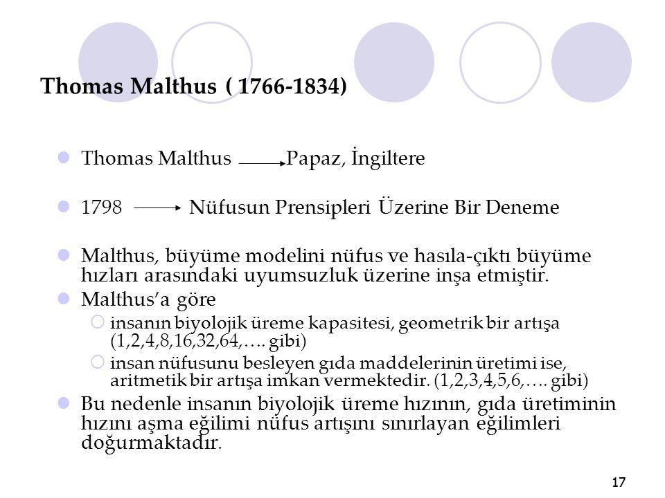 Thomas Malthus ( 1766-1834) Thomas Malthus Papaz, İngiltere