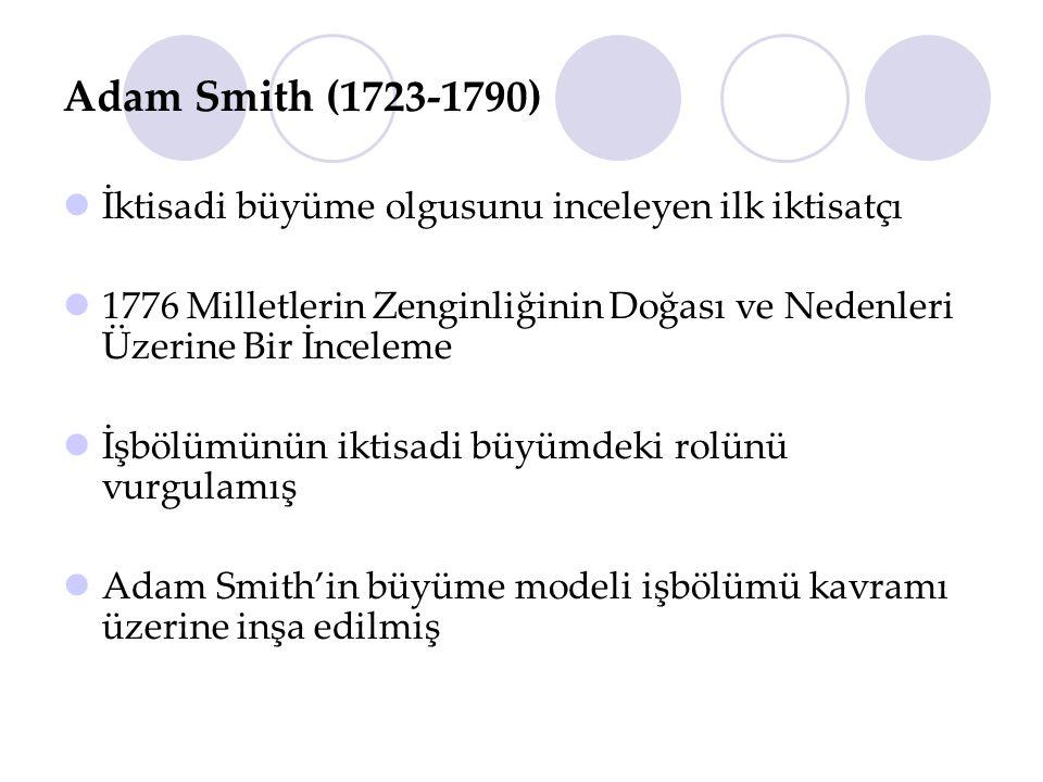 Adam Smith (1723-1790) İktisadi büyüme olgusunu inceleyen ilk iktisatçı. 1776 Milletlerin Zenginliğinin Doğası ve Nedenleri Üzerine Bir İnceleme.