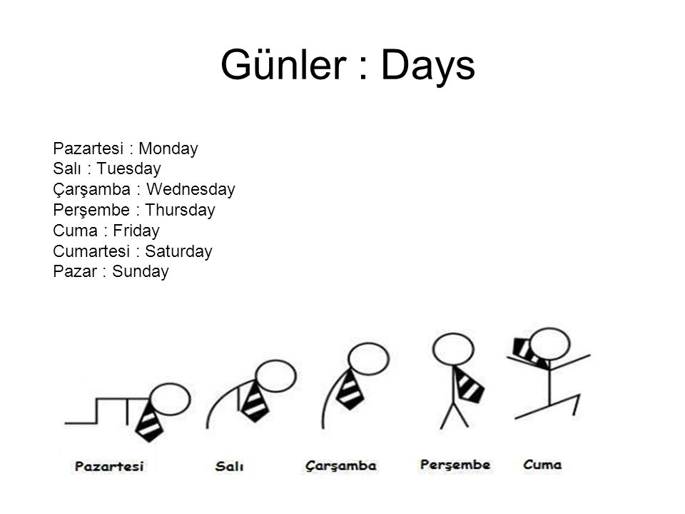 Günler : Days Pazartesi : Monday Salı : Tuesday Çarşamba : Wednesday