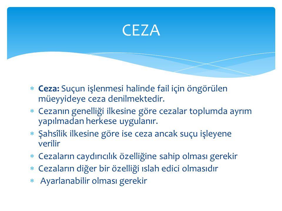 CEZA Ceza: Suçun işlenmesi halinde fail için öngörülen müeyyideye ceza denilmektedir.
