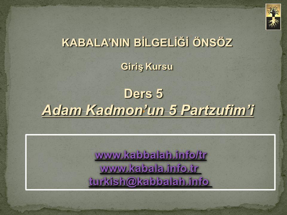 Ders 5 Adam Kadmon'un 5 Partzufim'i